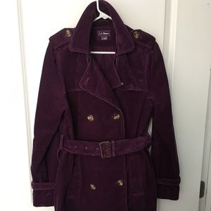 L.L. Bean Purple Corduroy Jacket/Coat Size M